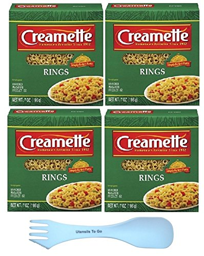 Creamette Small Pasta Rings Bundle: (5 Items) 7 ounce boxes of Pasta Rings (4) and white spork (Pasta 7 Ounce Box)