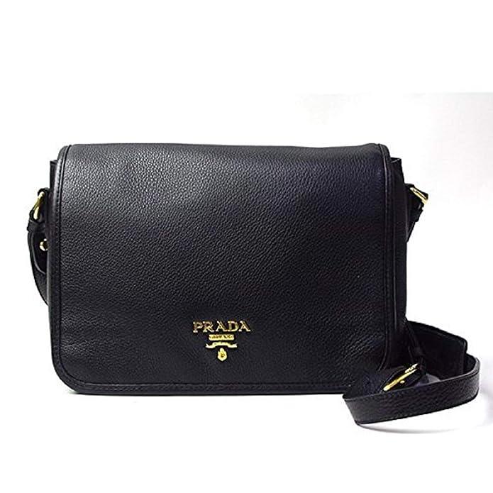 d111d6b31c8 Prada Vitello Phenix Nero Black Pattina Shoulder Messenger Bag 1BD091   Handbags  Amazon.com