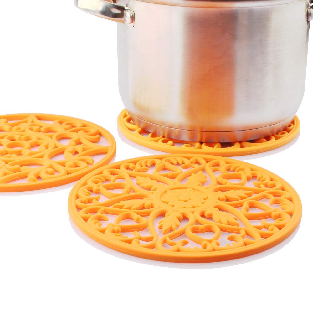 ME.FAN 3 Set Silicone Multi-Use Intricately Carved Trivet Mat - Insulated Flexible Durable Non Slip Coasters (Orange)