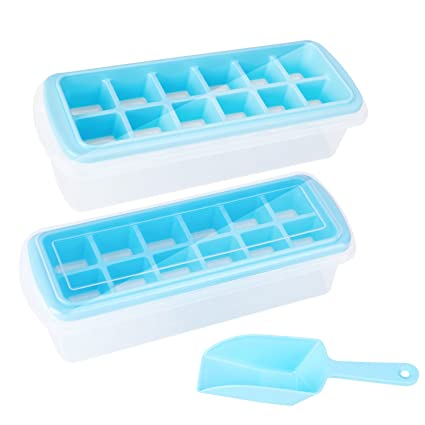 Amazoncom Yotenic 3 In 1 Silicone Ice Cube Trays With Lid Storage
