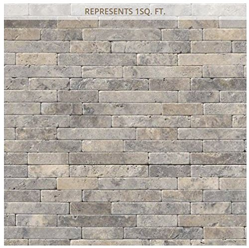 (Silver Ash Veneer 8 in. x 18 in. x 10 mm Tumbled Travertine Mesh-Mounted Mosaic Tile)