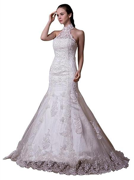 George Bride elegante nueva Punta Cuello Alto sirena ueber satén vestido de novia Vestidos de novia Vestidos de Boda: Amazon.es: Ropa y accesorios