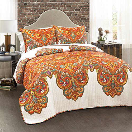 Lush Decor Lush Décor Boho Chic 3 Piece Quilt Set, King, Tangerine