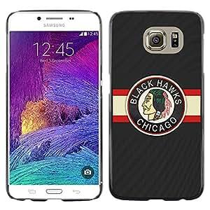 A-type Arte & diseño plástico duro Fundas Cover Cubre Hard Case Cover para Samsung Galaxy S6 (Halcón Negro Hockey sobre hielo)