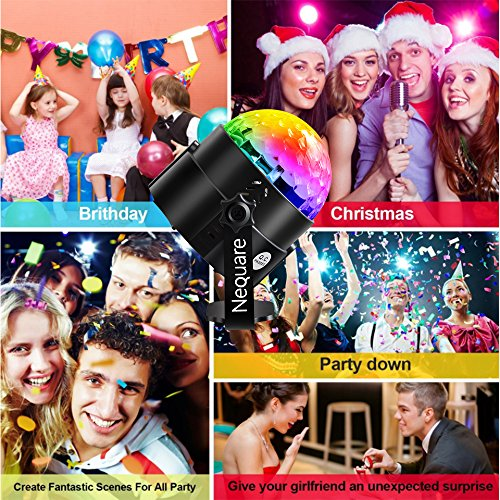 Nequare Party Lights Sound Activated Disco Ball Strobe Light 7 Lighting Color Disco Lights with Remote Control for Bar Club Party DJ Karaoke Wedding Show and Outdoor by Nequare (Image #5)