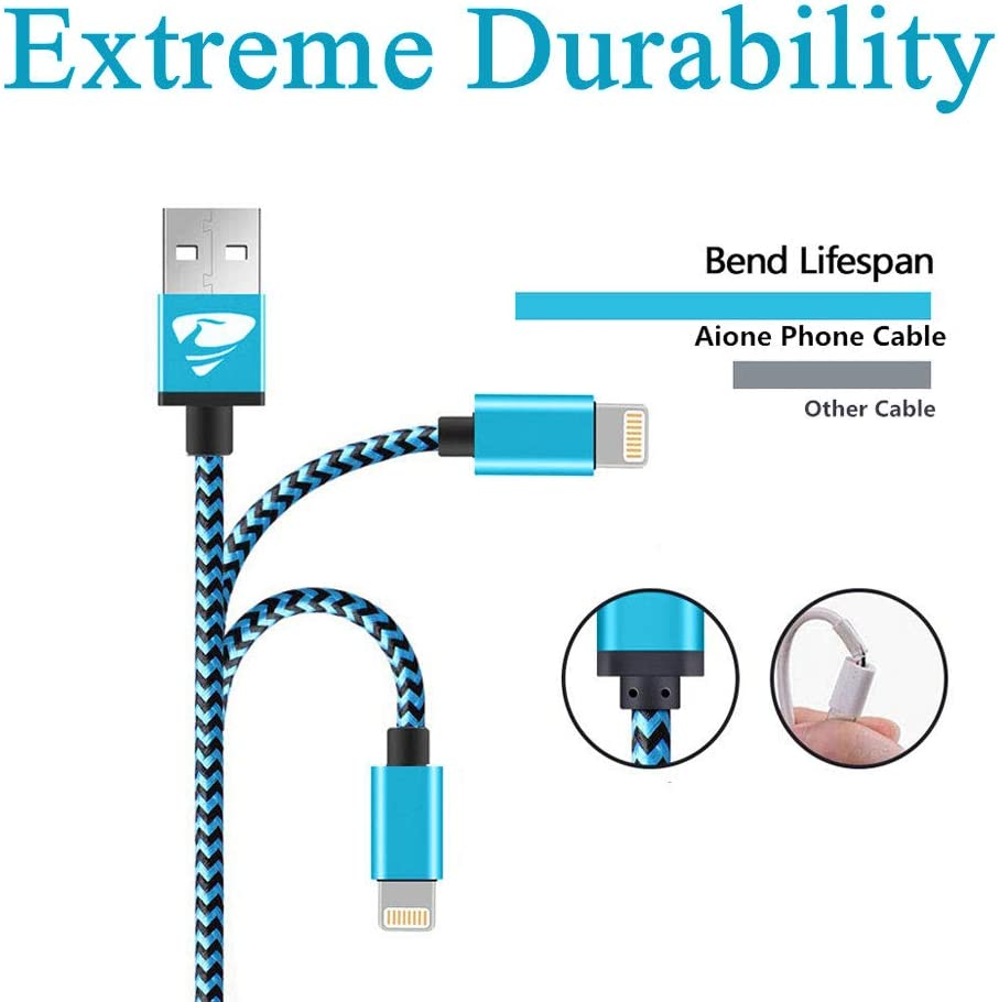 Lightning Cable 1M Nylon Braided Fast iPhone Charging Cable Compatible with iPhone 11 Pro//XS Max//X//8//7//7plus//SE//6s//6s Plus//6//6 Plus//5s//5c//5,iPad Charger Cable Lead Aione iPhone Charger