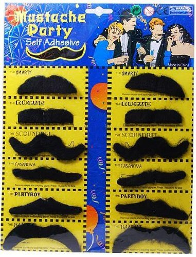 Self Adhesive Set 12 Fake Mustaches Costume Party Disguise ()