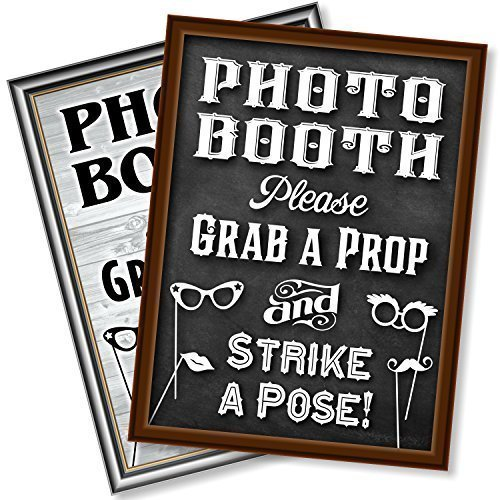 Bigtime Designs Photo Booth Props Sign, 2-Sided, Use for Any Wedding, Party or Event Chalkboard Style on 1 Side and a Rustic Vintage Look on The 2nd, 16 L x 12 W