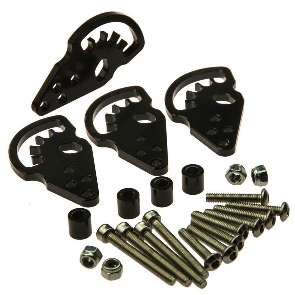 MOHERO Aluminum Adjustable Shock Lift Droop Kit Set for 1:10 Axial SCX10 RC Crawler Car B, Black