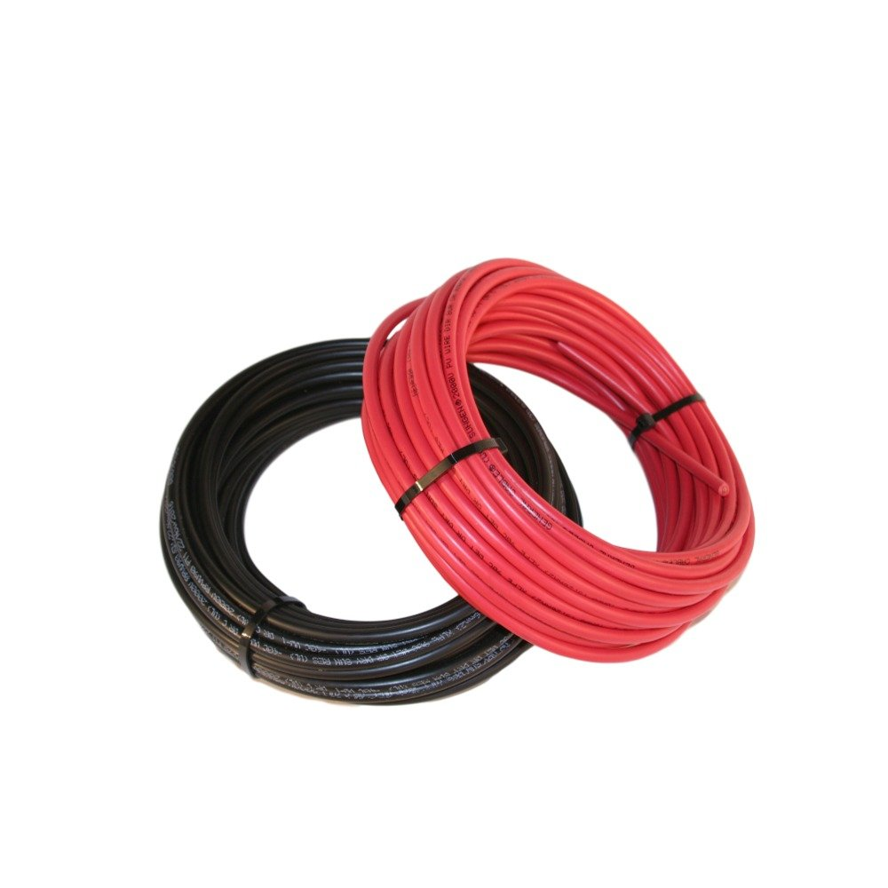 Black and Red #10 Solar Cable 50' Each Plus 10 Free Solar Cable Clips from Nine Fasteners Model DCS-1307