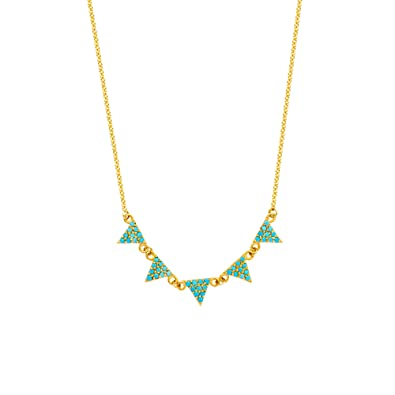 de53eb2344c36 Amazon.com: 14K Yellow Gold Hanging Triangle Pendants Necklace, 16 ...