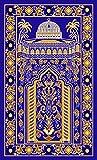 Islamic Prayer Rug Thick Muslim Prayer Rug Islam Traditional Design Nylon prayer Carpet with Non-slip Latex bottom for Kids Man Women Prayer Room (Style1, Blue)