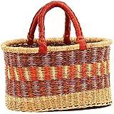 Fair Trade Ghana Bolga African Mini Oval Shopper 10-12 Across, 67590