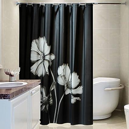 Peva Black Air Shower Curtain European Style Elegant Style Plastic Shower  Curtain Thickening Waterproof Mildew Bath