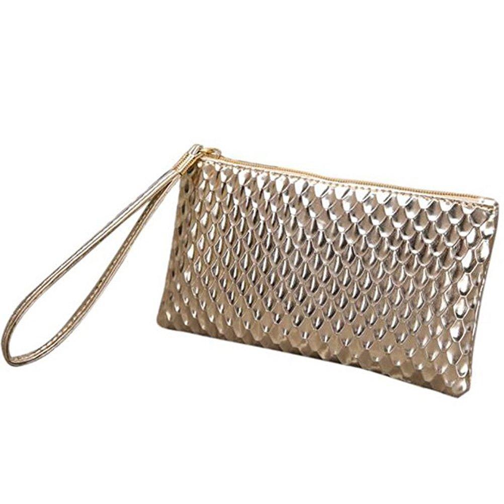 Donalworld Women Fish Scales Pattern Wrist Phone Cash Bag S Gold