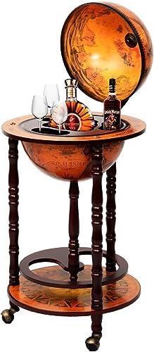 36″ Wood Globe Wine Bar Stand 16th Century Italian Rack Liquor Bottle Shelf New