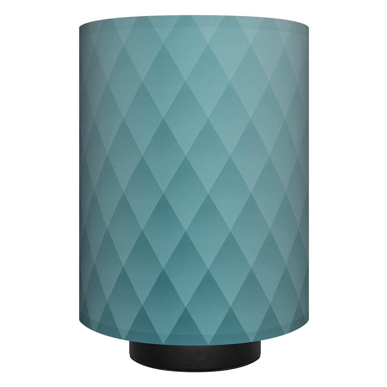 anna wand Tischlampe RAUTEN BLAUGRAU – Komplette Lampe mit Design-Lampenschirm in Blau, schwarzem Lampenfuß & Stoffkabel, Leuchtmittel – Sanftes Licht im Wohnzimmer, Schlafzimmer und im Flur