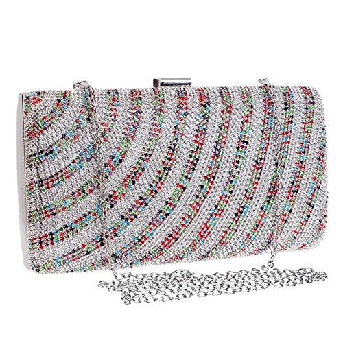 MKHDD kvinnor diamant bröllop kopplingar kvinnliga ränder strass pärlor kedja axelväskor kväll brud handväskor party handväska Flerfärgade