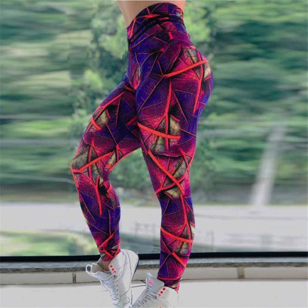 POPNINGKS Women Leggings Ladies Digital Printed Yoga Pants Casual Hip-up and Waist Sports Fitness Running Pants