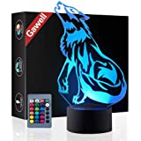 Wolf 3D Birthday Gift Illusion Night Light Beside Table Lamp, Gawell 7 Color Changing Touch Switch Decoration Lamps with Acrylic Flat & ABS Base & USB Cable & Remote Control Wolf Lover Theme Toy