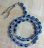 Tasbeeh Masbaha Sebha Tasbih Sibha Subha Rosary Muslim Islamic Islam 33 Worry Beads Prayer Beads Zikr Dhikr Thikr Salah Salat Namaz Allah Blue Hamsa Evil Eye Large 325 (Prayer Beads Silver)