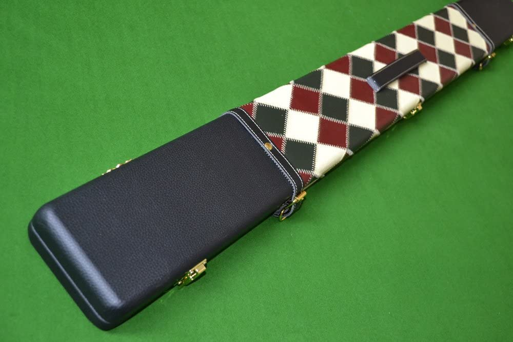 Luxury Hand Crafted 3//4 Three Compartment Wide Patch Diamond Design Hard Snooker Cue Case in Multiple Colours.