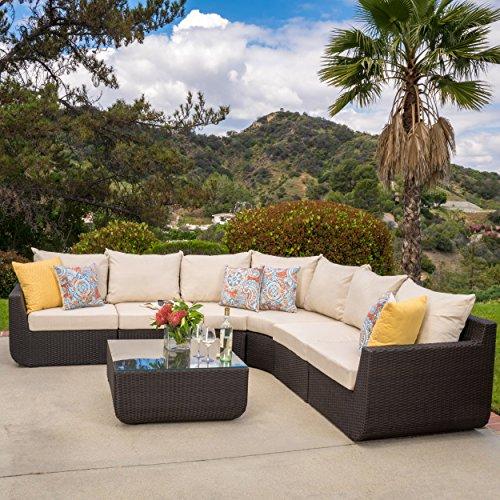 Prado Patio Furniture ~ 7-piece Outdoor Sectional Sofa Set with Beige - Glasses Prado