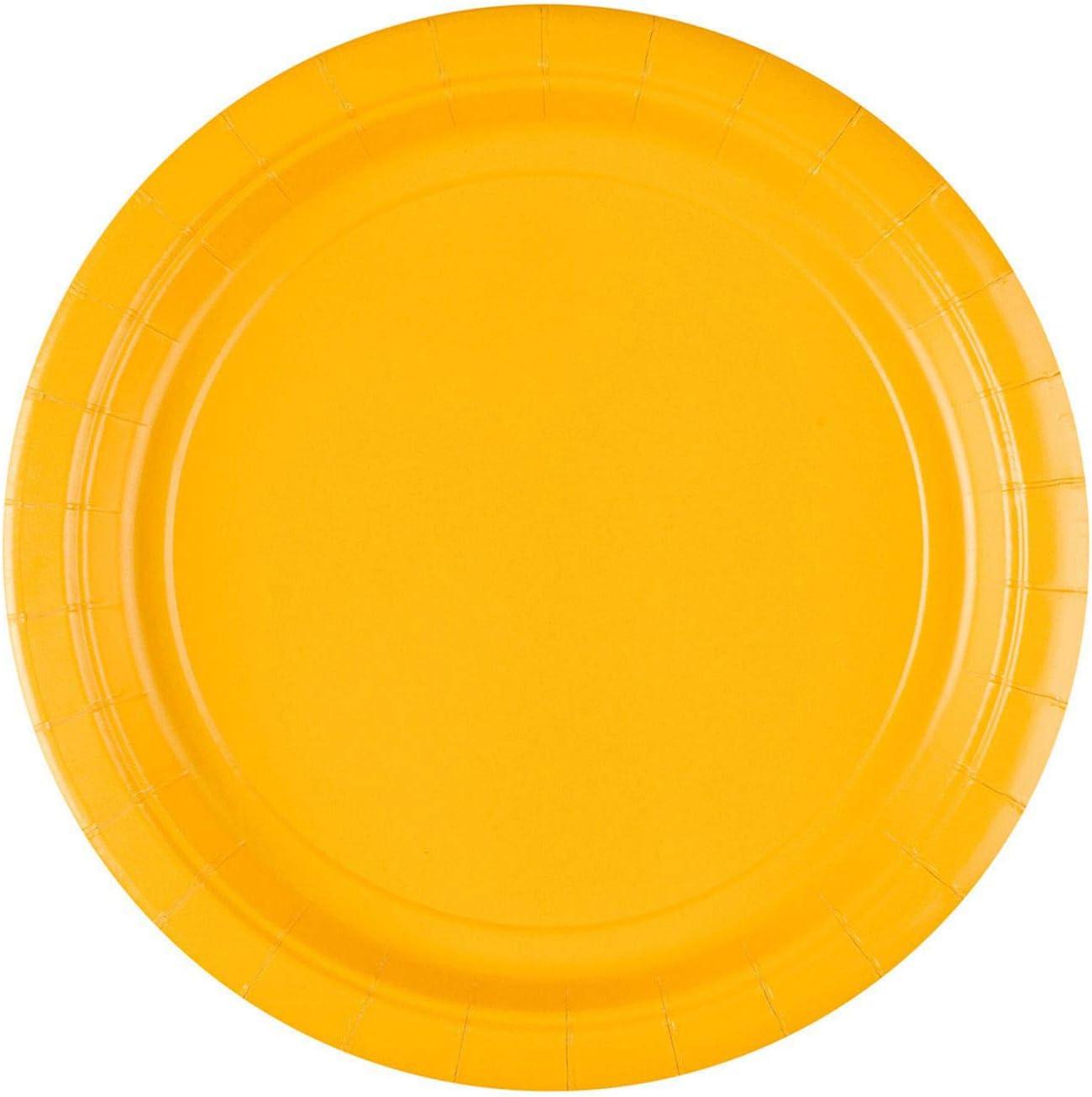 amscan - Platos Grandes de cartón Fuerte, Color Amarillo (55015-09A)