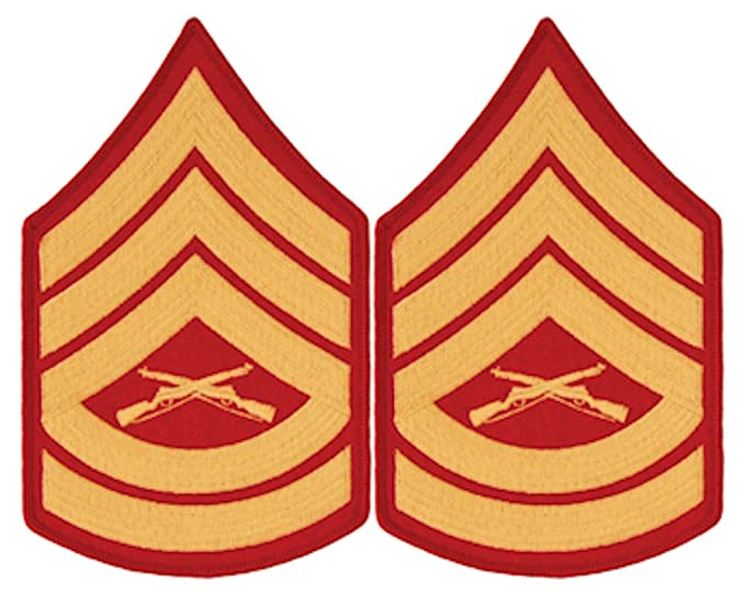 amazon com gold on red usmc chevrons gunnery sergeant male