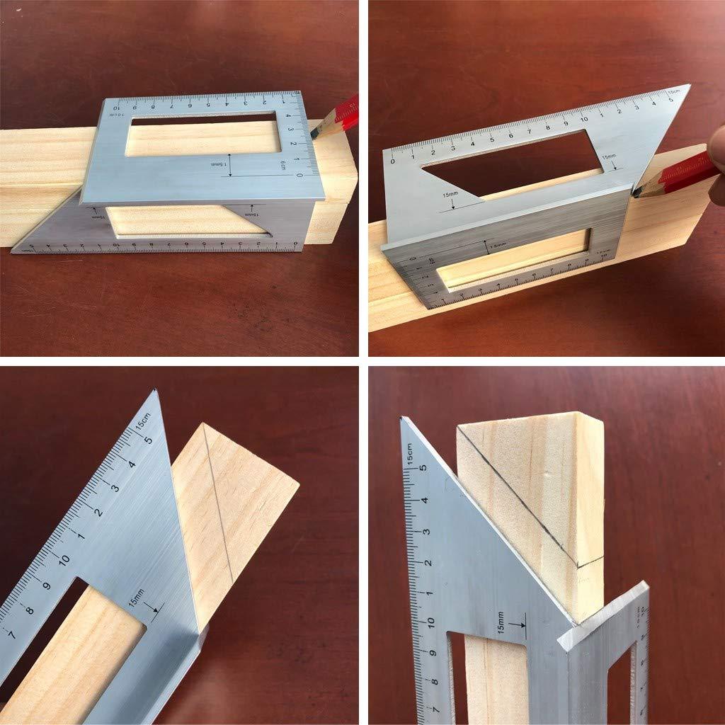Regla de /ángulo multifunci/ón FBGood Escuadra Triangular para Herramienta de medici/ón de aleaci/ón Regla de aleaci/ón de Aluminio medidor Vertical en Forma de T