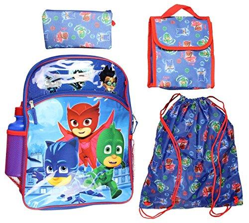 PJ Masks 5 piece Backpack School Set (One Size, Blue/Red) -