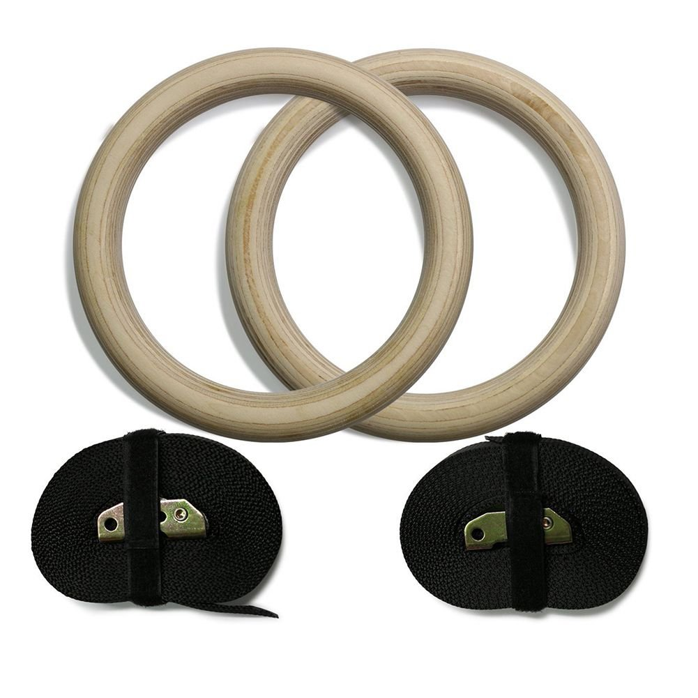 grofitness/ /Anillas de gimnasia de madera con ajustable correas fuerza gimnasio anillos formaci/ón Tire hacia arriba Calistenia
