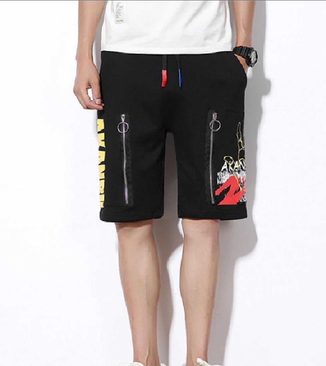 Zimaes-Men Zip Straight-Fit Fine Cotton Elastic Waist Midi Shorts Black XL by Zimaes-Men (Image #2)
