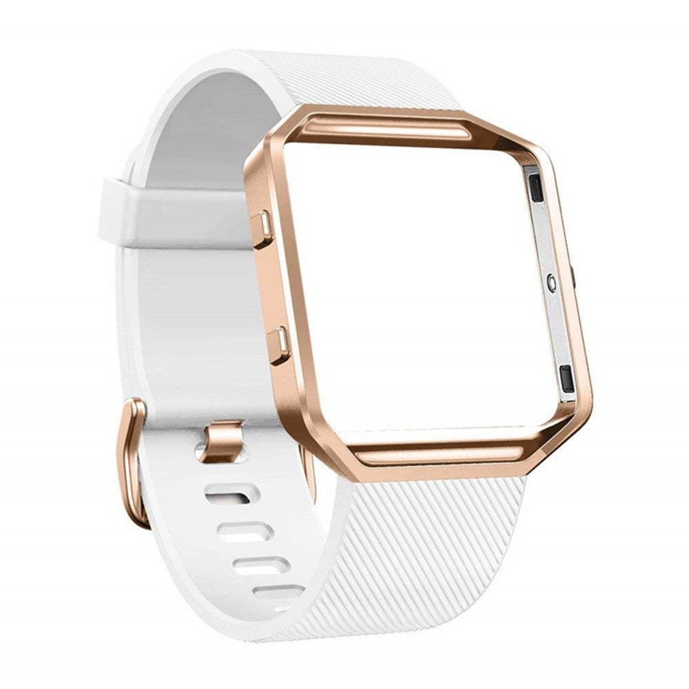 DECVO For Fitbit Blaze Bands, Silicone Replacement Band Strap with Stainless Steel Frame Case for Fitbit Blaze Smart Fitness Watch for Women Men Girls Boys Rose Gold Case (WHITE, 1 PC)
