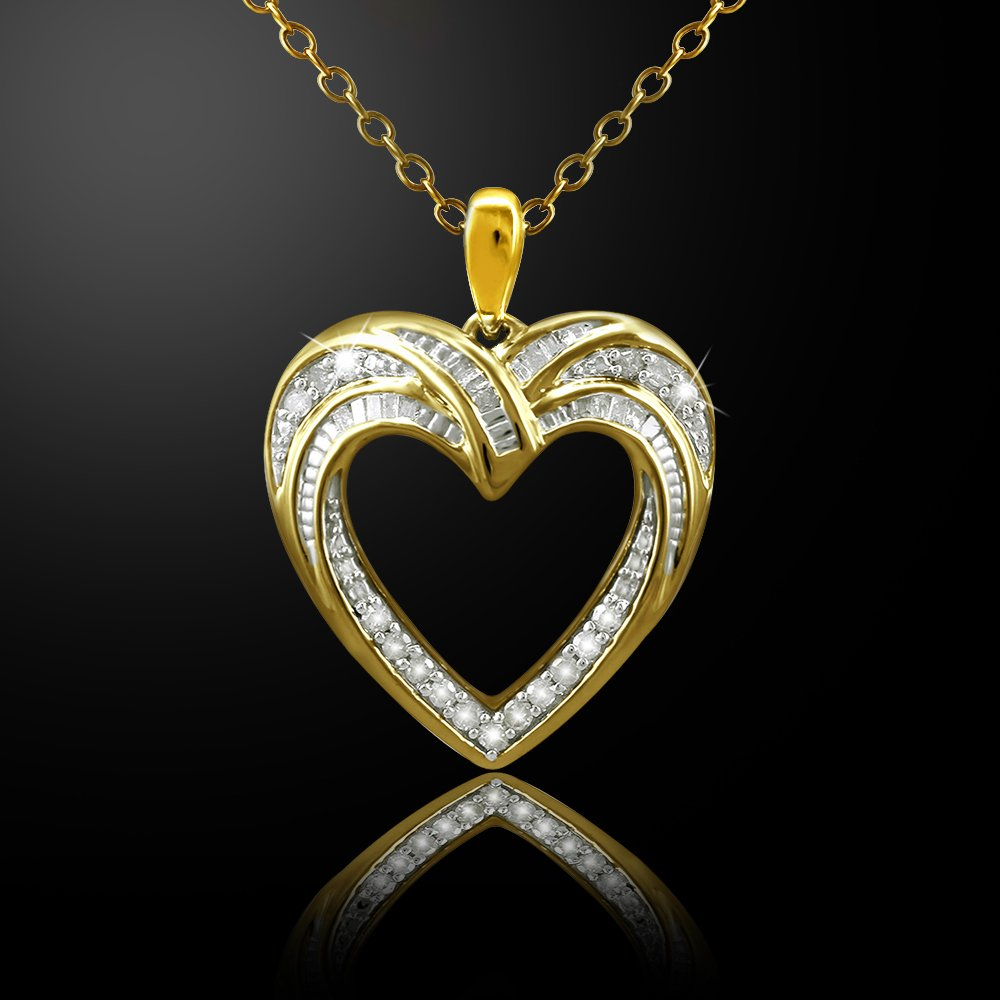 Christmas Gifts Pendant Necklace Earring Set For Women: .925 Sterling Silver Real Baguette Round Diamonds Yellow Plating with Heart Shaped Design ( 0.25cttw IJ I2I3 Clarity) by Store Indya (Image #3)