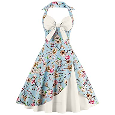 Summer Dress Women Halter Patchwork Vintage Dress Plus Size Party Casual Dress Feminino Rockabilly Dress Swing