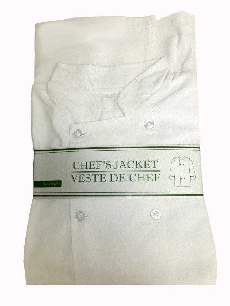 Maison Plusコットンシェフジャケット、ホワイト – XL   B07B6CJ5L4