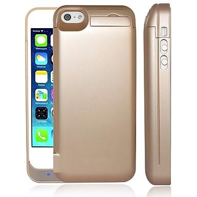 TQTHL 4800mah batería extendida Funda de Carga, Compatible con Apple iPhone 5 & 5S Apple iPhone 5 Apple iPhone 5S, Color Dorado