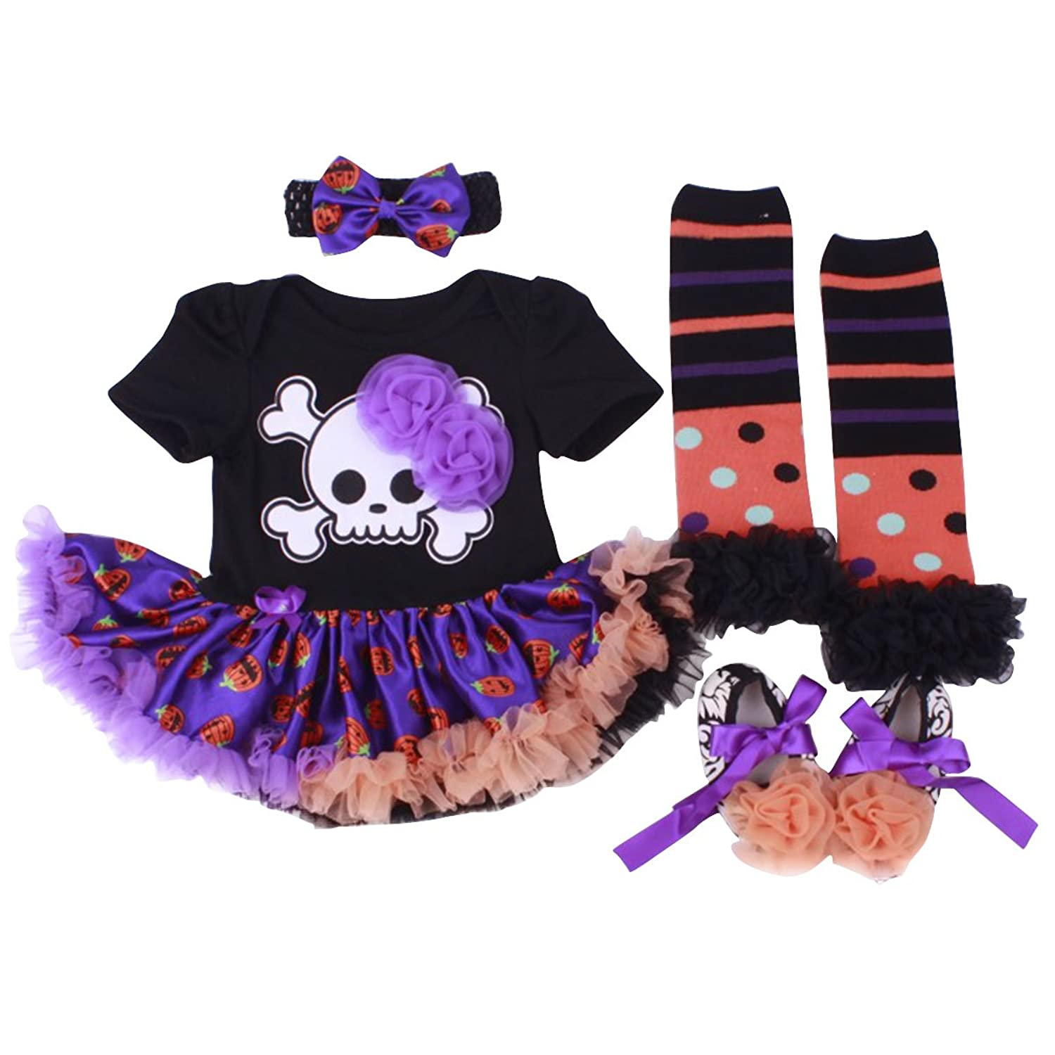 b86af6bb4 ✿HALLOWEEN THEME: Features Halloween theme skull skeleton pattern print  tutu romper dress,matching cute headband leg warmers and shoes for baby  girl,new in ...