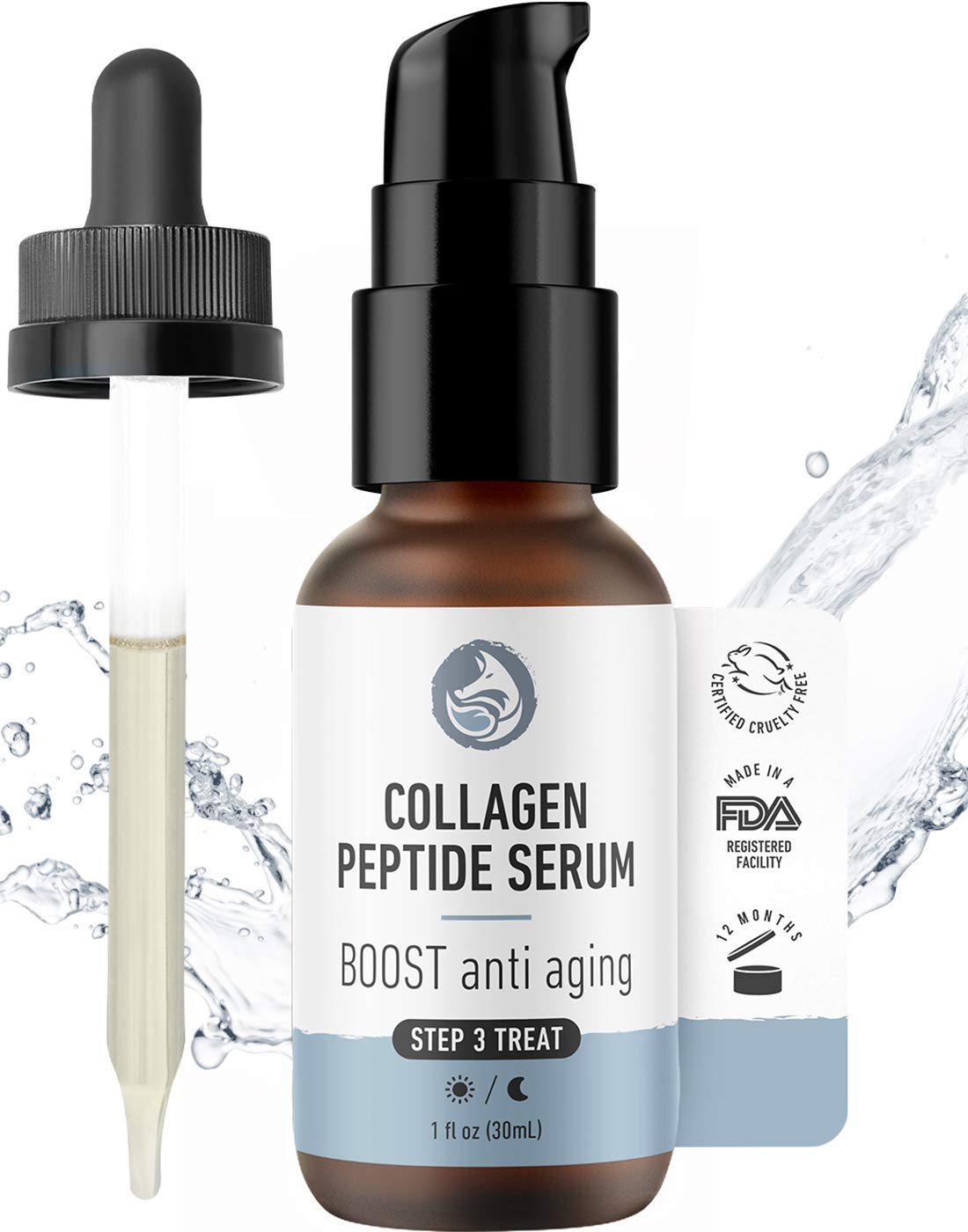 Collagen Peptide Complex Face Serum - Tighten, Firm & Smooth - Advanced Natural & Organic Anti-Aging Facial Formulation by Foxbrim Naturals 1oz