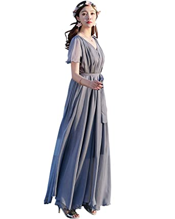 d60932f1590 Medeshe Women s Chiffon Lightweight Beach Bridesmaid Maxi Dress Sundress ( Length  115cm