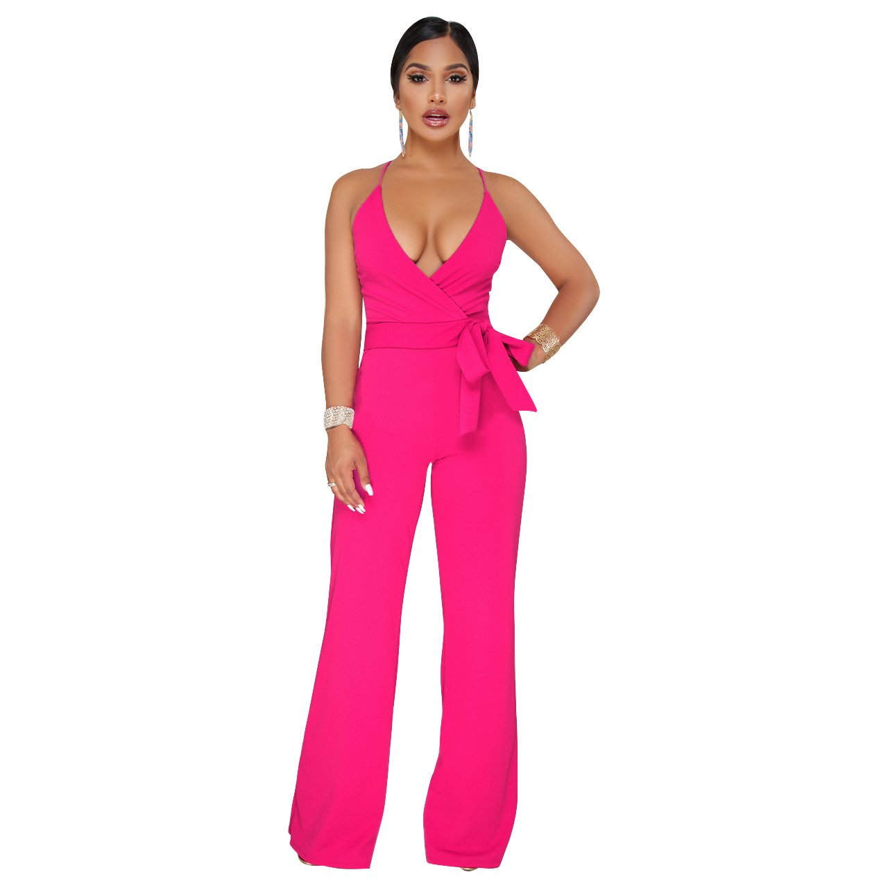 ece1fa1a1c78 Amazon.com  Ermonn Women s Wide Leg Jumpsuits Sexy Halter V Neck Sleeveless  Wrap Wasitband Jumpsuit Rompers  Clothing