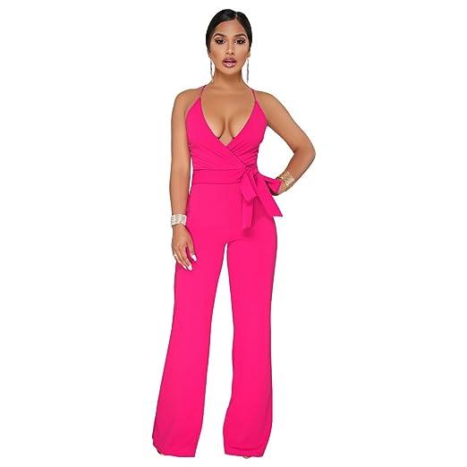 37fd94b44161 Amazon.com  Ermonn Women s Wide Leg Jumpsuits Sexy Halter V Neck Sleeveless  Wrap Wasitband Jumpsuit Rompers  Clothing