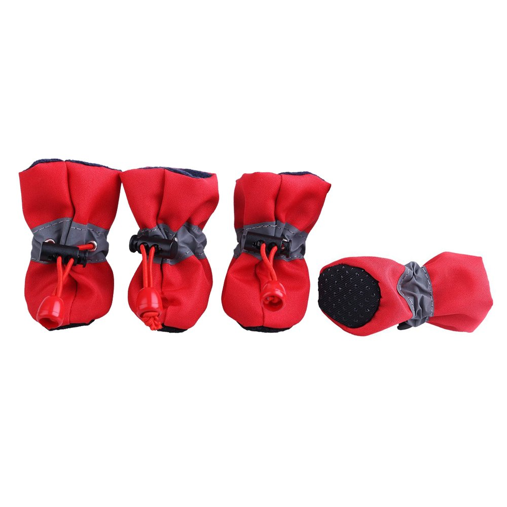 PETLESO Pet Paw Protectors for Puppy Dog Indoor Shoes Antislip Dog Boots-Red,Large