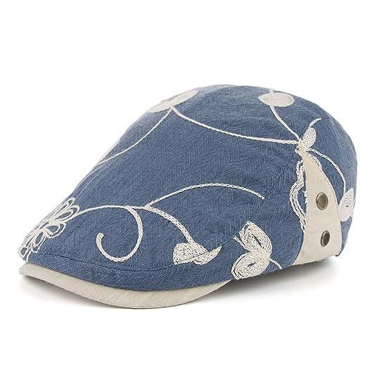 83fcd138e592c Men s Cotton Flat Newsboy Cap Ivy Gatsby Cabbie Driving Hunting Hat  Summer(Demin Blue)