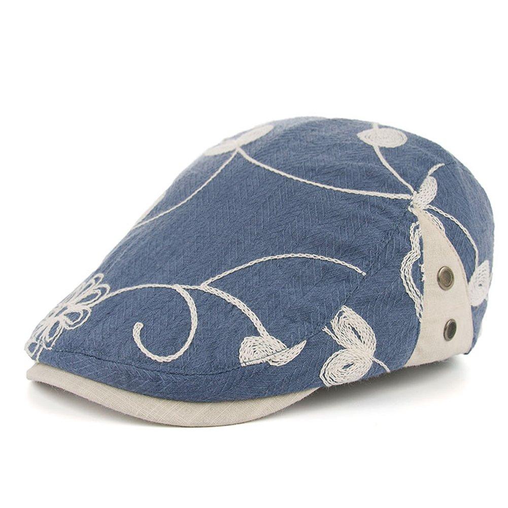 Men's Cotton Flat Newsboy Cap Ivy Gatsby Cabbie Driving Hunting Hat Summer(Demin Blue)