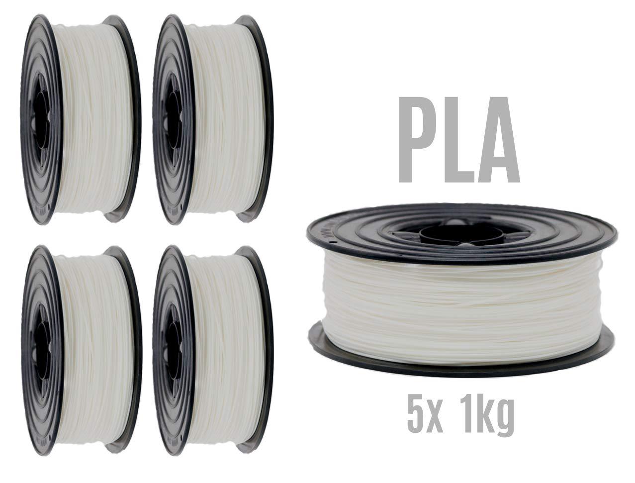 Filamento PLA para impresora 3D, 1,75 mm / 5 x 1 kg, rollo ...