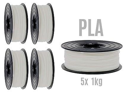Filamento PLA para impresora 3D, 1,75 mm / 5 x 1 kg, rollo blanco ...