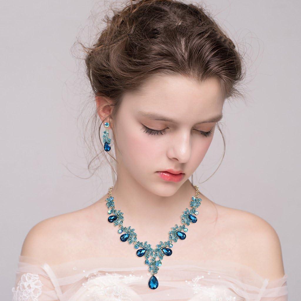 Clearine Femme Cristal Goutte Filigran/é Foliaire Collier Plastron Boucles doreilles Pendante Mariage Parure Blanc