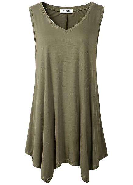 0a4b1b37414 LARACE Womens Tunic Plus Size Long Flowy Tank Top V-Neck Loose Basic T Shirt  at Amazon Women s Clothing store
